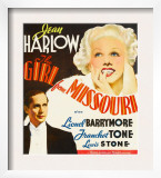 Girl from Missouri, Franchot Tone, Jean Harlow on Window Card, 1934 Print