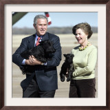 President Bush and First Lady, Laura, Carry Their Dogs Framed Photographic Print