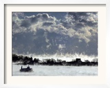 A Ferry Motors Through Arctic-Like Sea Fog as It Passes House Island Framed Photographic Print