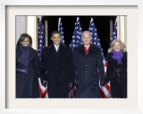 Barack Obama and the Joe Biden, Along with Their Wives, are Introduced at the War Memorial Plaza Framed Photographic Print