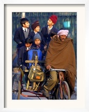 Indian Children Ride to School on the Back of a Cycle Rickshaw Framed Photographic Print