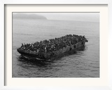 A Barge Packed with Vietnamese Refugees from Danang is Towed to the Ss Pioneer Contender Framed Photographic Print