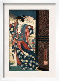 An Oiran with a Paper Kerchief in Her Mouth Advances Toward the Left Print by Yoshitoshi Taiso