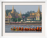 Cambodian Racers Row Their Wooden Boat Framed Photographic Print by Heng Sinith