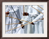 Emirates Men Perform the Al Ayyaleh Traditional Dance Framed Photographic Print