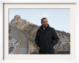 U.S. President Barack Obama Tours the Great Wall in Badaling, China Framed Photographic Print