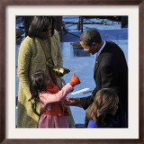 President Barack Obama is Congratulated by his Daughter after Taking the Oath of Office, Washington Framed Photographic Print