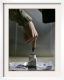 Iraqi Security Forces Member Inks His Finger after Casting His Vote at a Polling Center in Iraq Framed Photographic Print