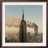 Twin Towers of the World Trade Center Burn Behind the Empire State Buildiing, September 11, 2001 Framed Photographic Print