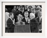 Chief Justice Warren Burger Administers the Oath of Office to Ronald Reagan, January 20, 1981 Framed Photographic Print