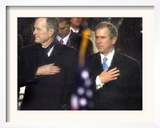 President Bush and His Father, Former President Bush, Put Their Hand Over Their Hearts Framed Photographic Print