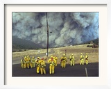 Firefighters Watch a Monstrous Cloud of Smoke Approach Framed Photographic Print