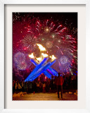Fireworks after Gretzky Lit the Olympic Cauldron at the Opening Ceremonies of the 2010 Winter Games Framed Photographic Print