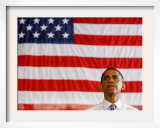 Barack Obama in front of US Flag, Flint, MI Framed Photographic Print