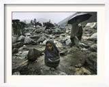 A Pakistani Earthquake Survivor Shivers Framed Photographic Print