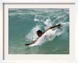 Presidential Candidate Senator Barack Obama, On Vacation, Body Surfing at a Beach, Honolulu, Hawaii Framed Photographic Print