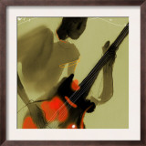 Playing Red and Black Bass Guitar Posters