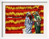 Villagers Walk Past Freshly Dyed Kalawa, a Sacred Orange-Yellow Thread Used in Hindu Rituals Framed Photographic Print