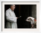 Blessing a Dog During the Feast of San Anton, the Patron Saint of Animals, in Madrid Framed Photographic Print
