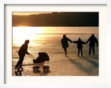 Skaters on the Frozen Lake Pilsensee Framed Photographic Print