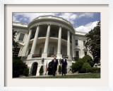 President Bush, Right, and Vice President Dick Cheney Walk to the South Lawn Framed Photographic Print