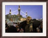A Shiite Muslim Worshipper Sings the Call for Prayer at the Kadhimiya Shrine Framed Photographic Print