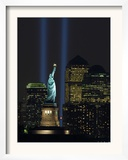 Lights from the Former World Trade Center Site Can be Seen on Both Sides of the Statue of Liberty Framed Photographic Print