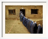 Afghan Women Wearing Burqa Line up to Vote at a Polling Station Framed Photographic Print