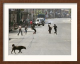 Children Play Soccer on a Deserted Street of Katmandu, Nepal Framed Photographic Print