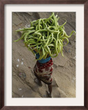 Indian Farmer Carries Cucumbers to Sell in the Market on the Outskirts of Allahabad, India Framed Photographic Print