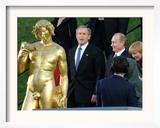 U.S. President George W. Bush, Russian President Vladimir Putin, Russian First Lady Lyudmila Putin Framed Photographic Print