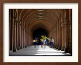 Boys Play Soccer Through an Arched Hallway at the Allahabad University Campus Framed Photographic Print