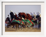 Tunisian Men Ride Their Arab Stallions During a Race the 36th Sahara Festival of Douz Framed Photographic Print