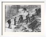 Works Progress Administration (Wpa) Workers Build a New Farm-To-Market Road Framed Photographic Print