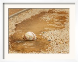 A Baseball Sits in a Puddle Framed Photographic Print