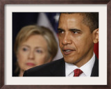 President Obama, Hillary Clinton at His Side, Announces New Strategy for Afghanistan and Pakistan Framed Photographic Print