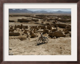 An Afghan Youth Rides His Bycicle by Houses Framed Photographic Print by Musadeq Sadeq