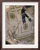 Firefighter as He Looks Inside the Damaged Dome of the Church of Santa Maria Del Suffragio Framed Photographic Print