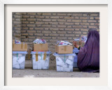 An Afghan Woman in a Burqa Oversees Ballot Boxes Framed Photographic Print