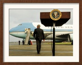 President Bush Walks Back to Air Force One after Speaking to Reporters at Toledo Express Airport Framed Photographic Print