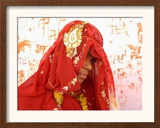 Fifteen-Year-Old Girl Poses for a Photograph after Her Marriage Framed Photographic Print