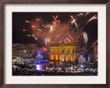 Fireworks at the Brandenburg Gate in Berlin, Germany Commemorating the Fall of the Berlin Wall Framed Photographic Print