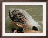 Naked Hindu Holy Man,Takes a Dip in the River Ganges During the Kumbh Mela Festival in India Framed Photographic Print
