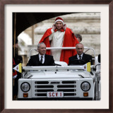 Pope Benedict XVI on His Popemobile, Arriving for the Weekly Audience in St. Peter's Square at the Framed Photographic Print