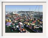 Fans Crowd into Boats, Kayaks, and Rafts Waiting for Their Chance to Catch a Home Run Ball Framed Photographic Print