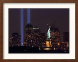Two Light Beams Illuminate the Sky Framed Photographic Print
