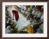 A Crowd of Women Who Pray in a Nearby Temple Six Hours a Day in Exchange for Meals and Money Framed Photographic Print