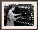 A Fourteen-Year-Old Girl Working as a Spool Tender Framed Photographic Print