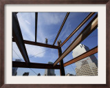 Ironworker Walks a Beam Above the 24th Floor of One World Trade Center in New York Framed Photographic Print
