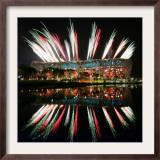 Fireworks over Bird's Nest, 2008 Summer Olympics, Beijing, China Framed Photographic Print